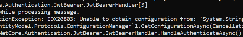 Unable to obtain configuration from IdentityServer