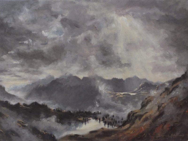 Oil landscape - turbulent skies over the swiss alps