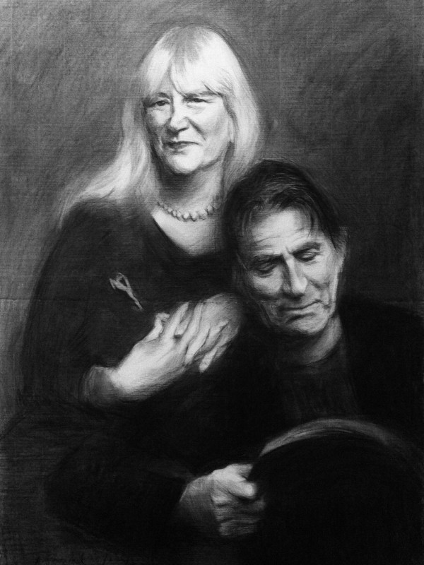 charcoal drawing of couple Tod and Deborah