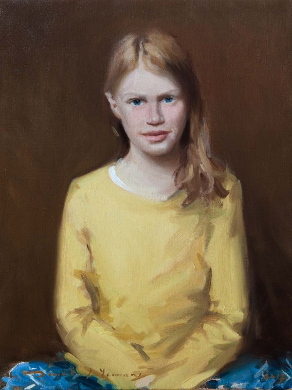 Child Portrait Painting of a 10yr old girl. oils on canvas.