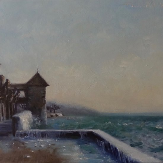 oil painting of the strong winds on Lake Geneva and Rolle castle.