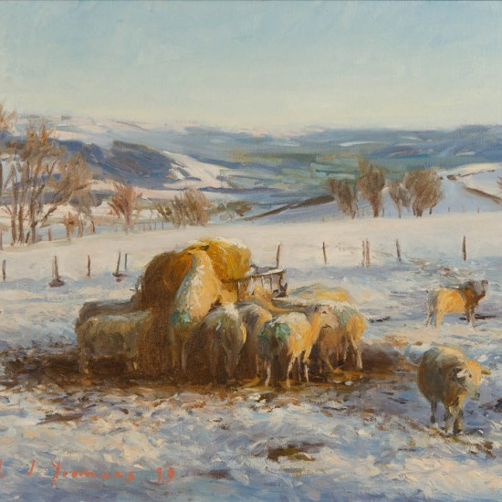 A painting of sheep in snow on the Kerry Ridgeway