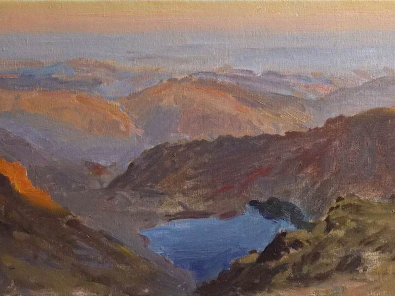 An oil painting of Llyn Can from the top of Cadair Idris