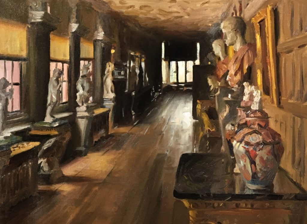 Painting of the Long gallery at Powis Castle. oil on canvas