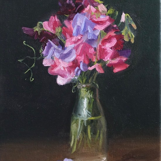 still life painting of Sweet peas in a bottle