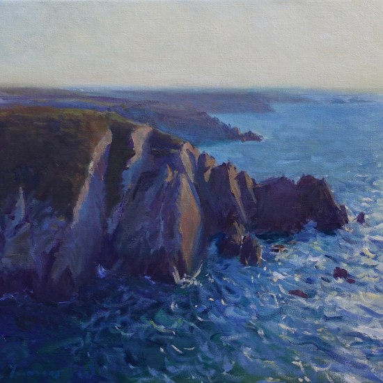 An oil painting of cliffs at Porthclais Harbour in the morning light