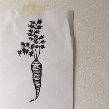 ink drawing of a carrot by Anja Dunk