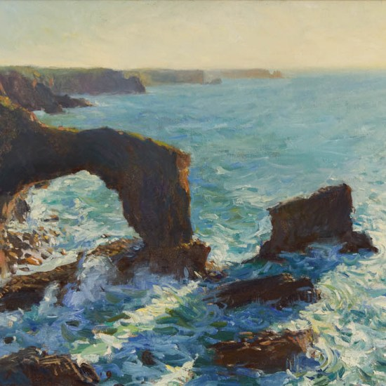 an oil painting of the Green bridge of Wales, Pembrokeshire