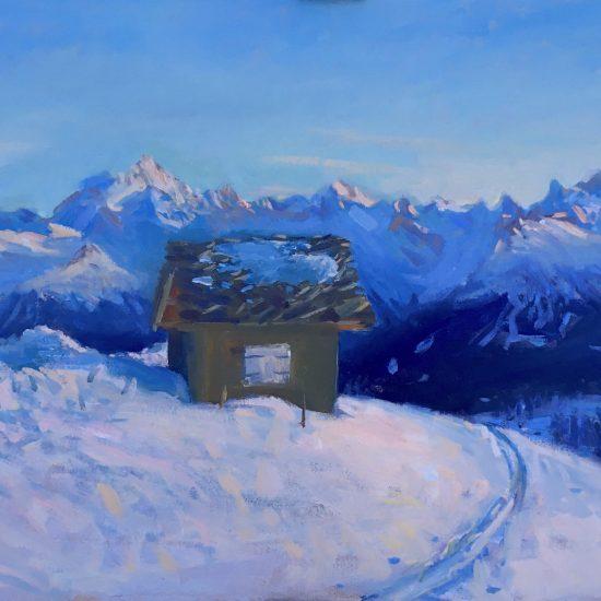 painting of Chetzeron in Crans Montana