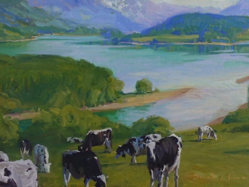 Oil painting of a Herd of cows above Lake Gruyère