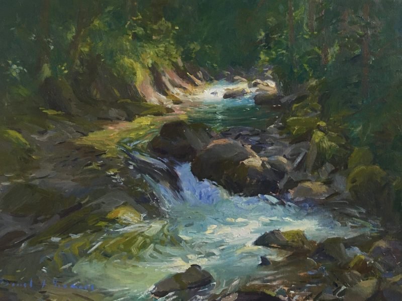 Oil painting of reflections in the forest stream, Champery.