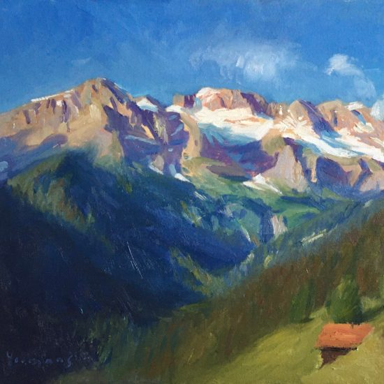 A painting of 'Les Dents Blanche' mountains in Champéry