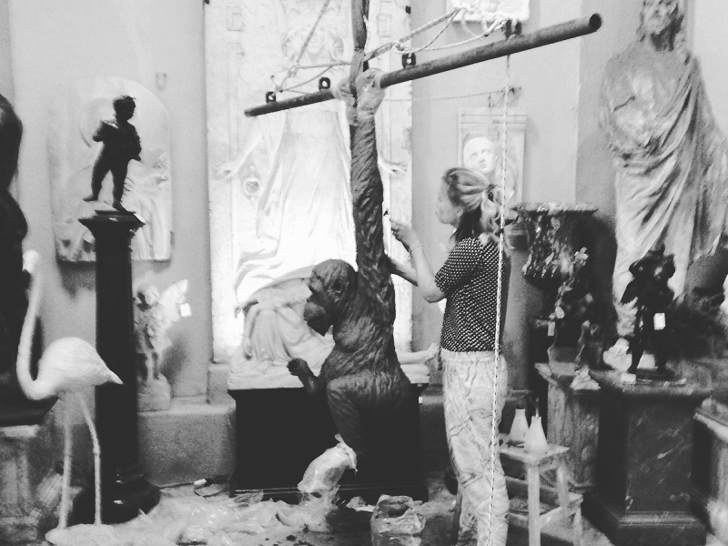 Elizabeth Lamarche sculpting in the studio
