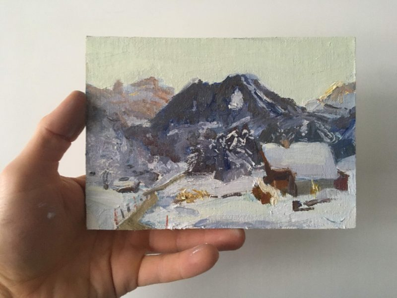 Les Rives, Wintery postcard painting