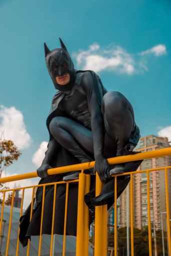 low angle photo of man wearing batman costume