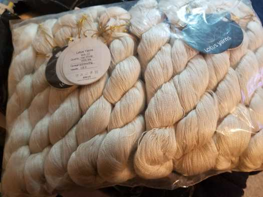 Skeins of Undyed Lace Yarn