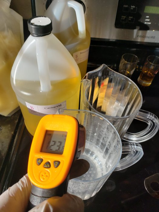 checking the lye water temperature