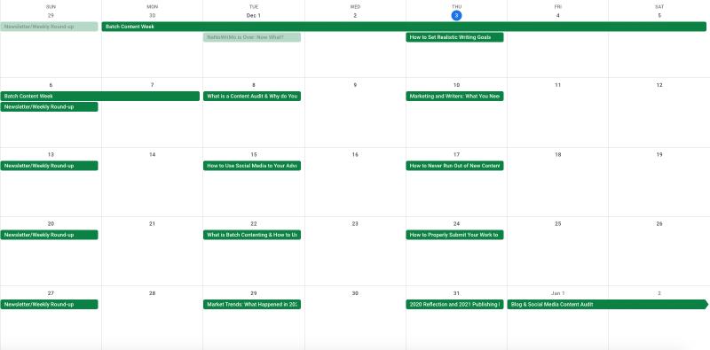 My batch content calendar