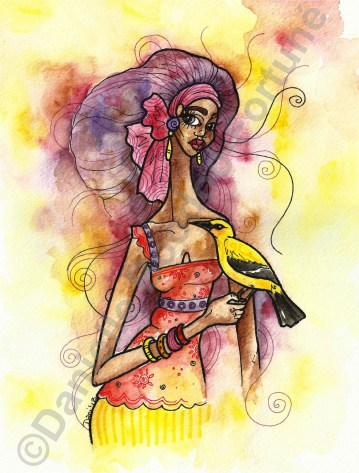 "Cara and the Corn Bird, 8 x 11"", TT $500, US$85"