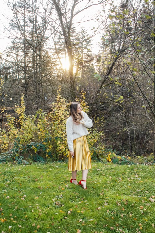 chunky sweater and gold skirt 3 - Danielle Comer Blog