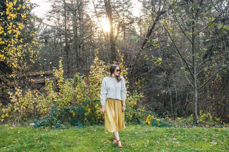chunky sweater and gold skirt 5 - Danielle Comer Blog