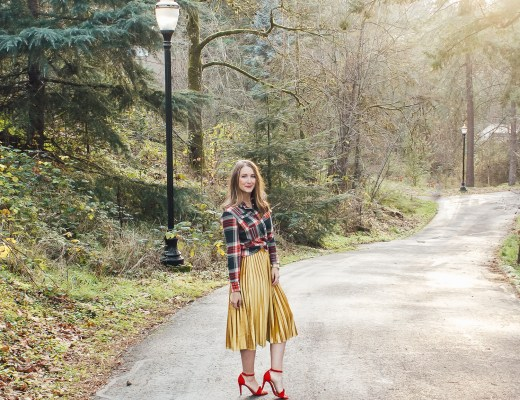 flannel and gold skirt outfit - Danielle Comer Blog