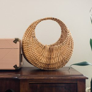 French gondola wicker plant basket-South by PNW Vintage