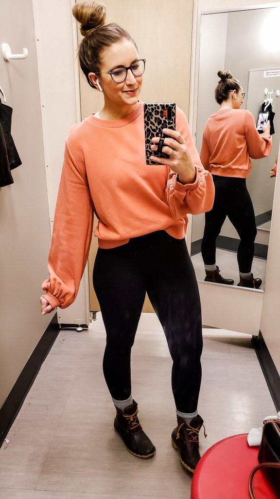 current target faves winter pink sweatshirt - danielle comer blog