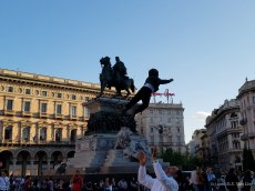 Flying child on the Piazza del Duomo, Milan