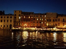 A view along Venice's Grand Canal at night