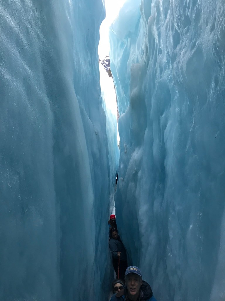 A deep crevice in the ice at Franz Josef Glacier