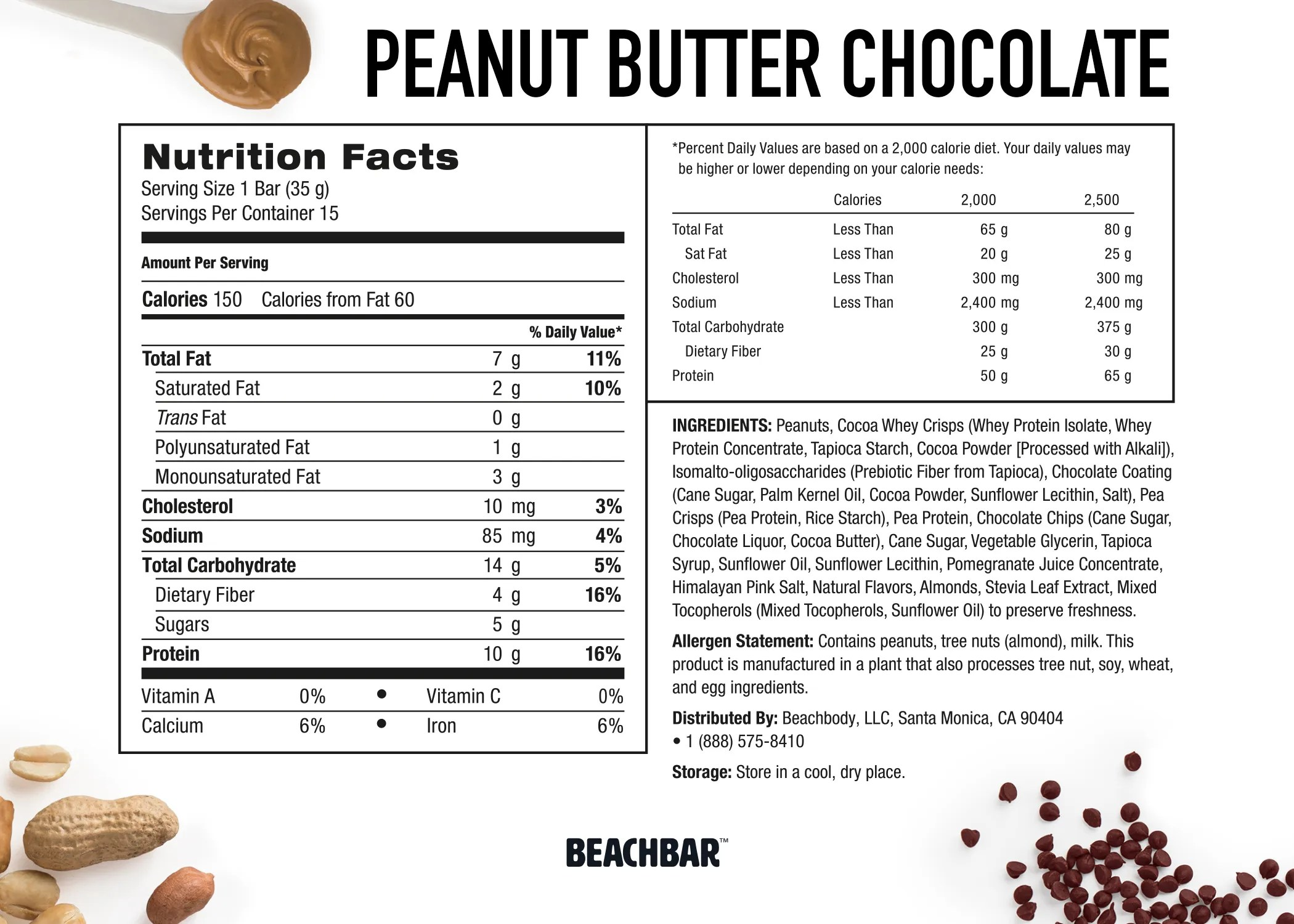 Beachbody BEACHBAR Peanut Butter Chocolate Nutrition Label