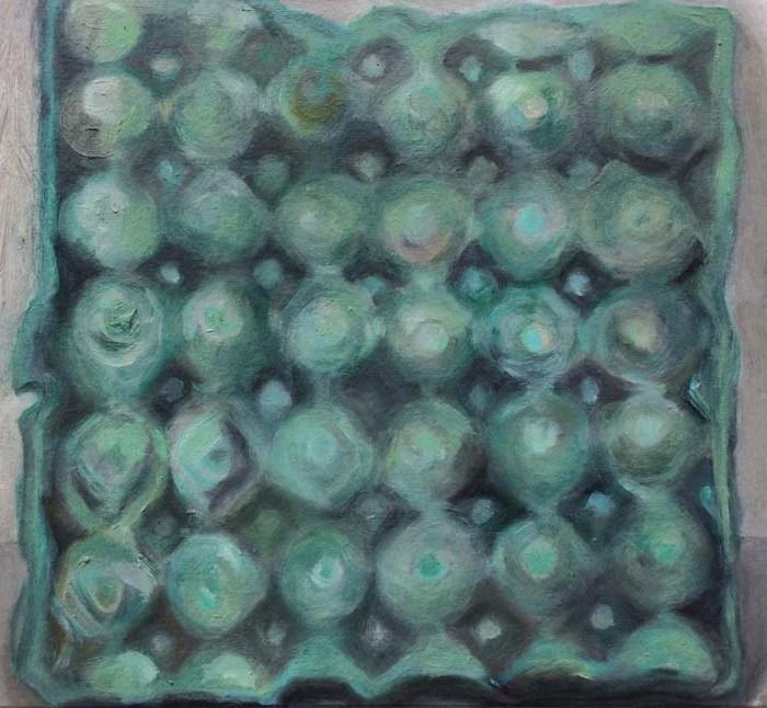 Caixa de ovos – óleo – verde