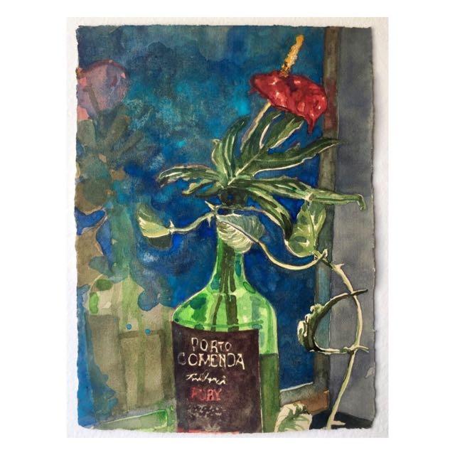 Antúrio na garrafa – aquarela de quarentena