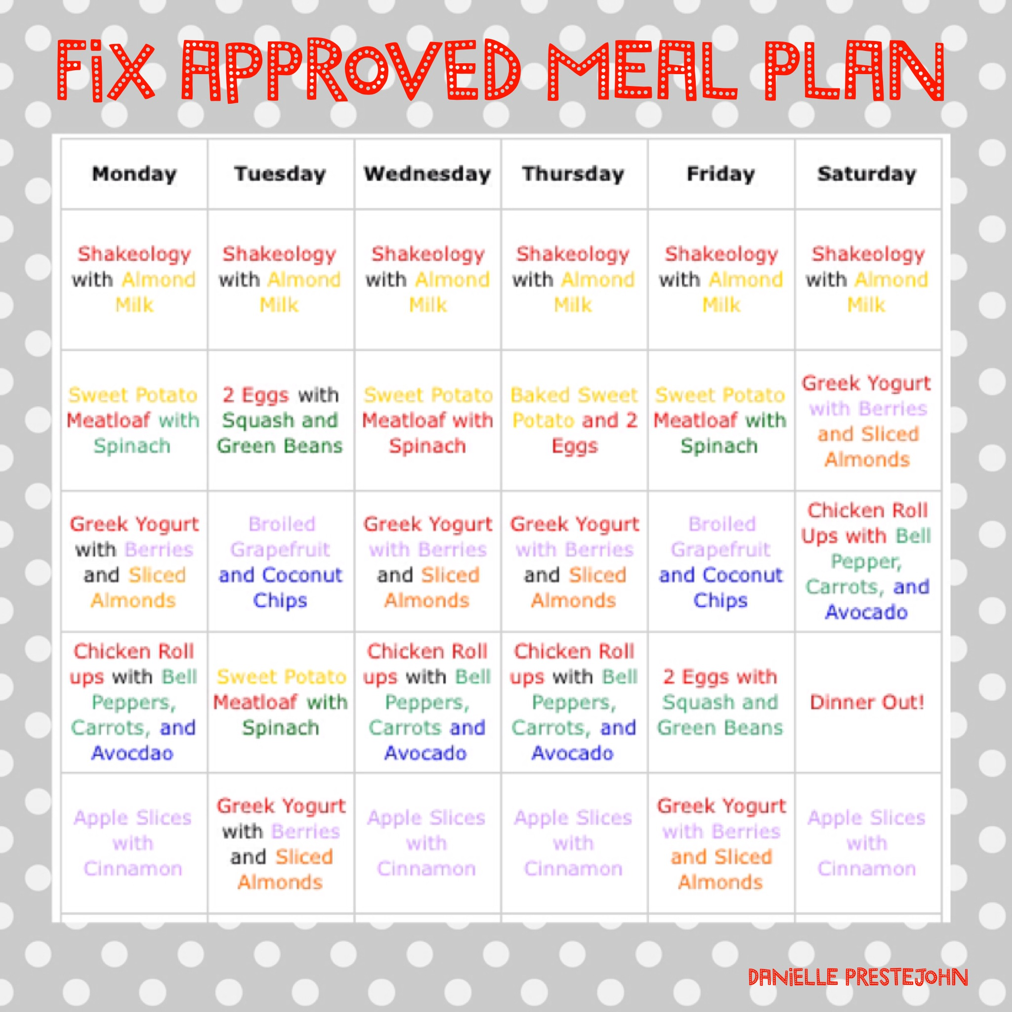 21 Day Fix Approved Meal Plan