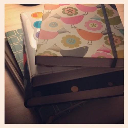 writer beautiful notebook stack