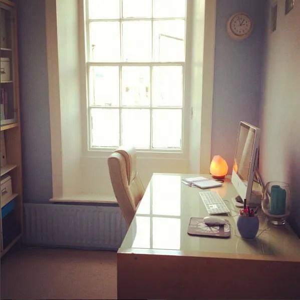 tidy home office organisation imac desk