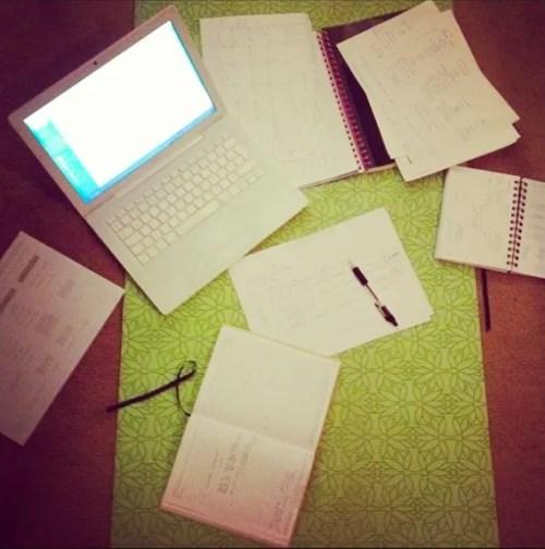 book writing in progress yoga