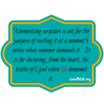 The importance of memorizing scripture