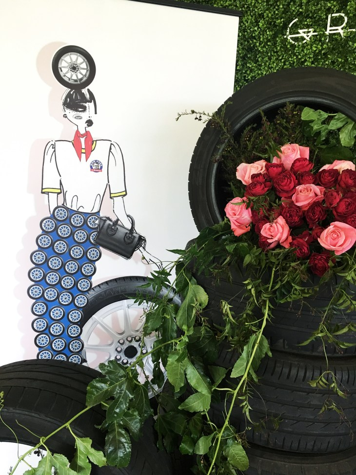 car-tyres-fresh-flowers-pink-green-foliage-ladies-luncheon-event