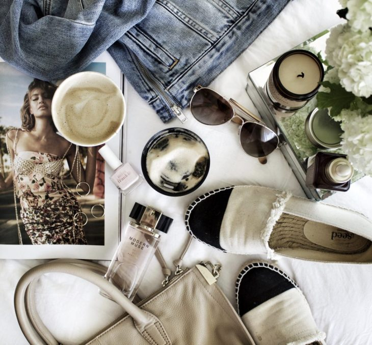 flatlay-styling-denim-jacket-cup-coffee-wudstr-estee-lauder-modern-muse-flat-lay-photography