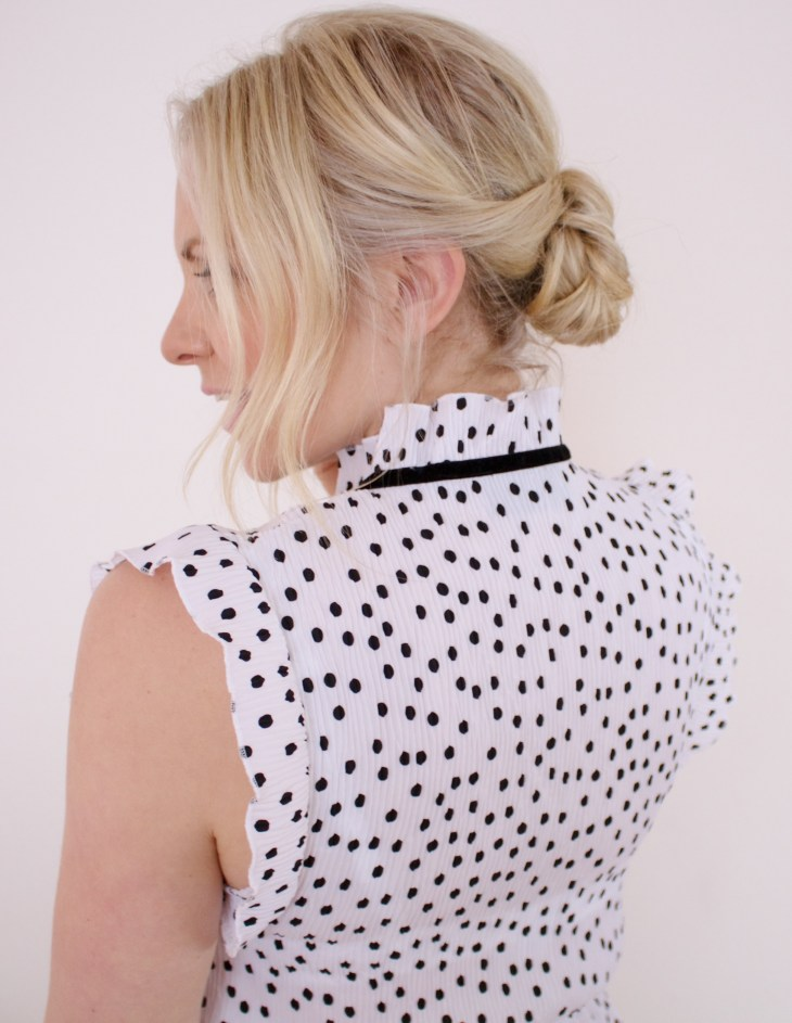 low bun tutorial how to guide polka dot dress fifth the label