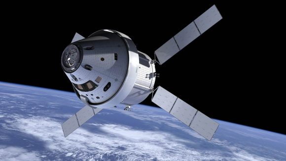 Aspecto de la nave Orión en 2013 cuando se decidió emplear el módulo de servicio de fabricación europea (NASA/ESA).