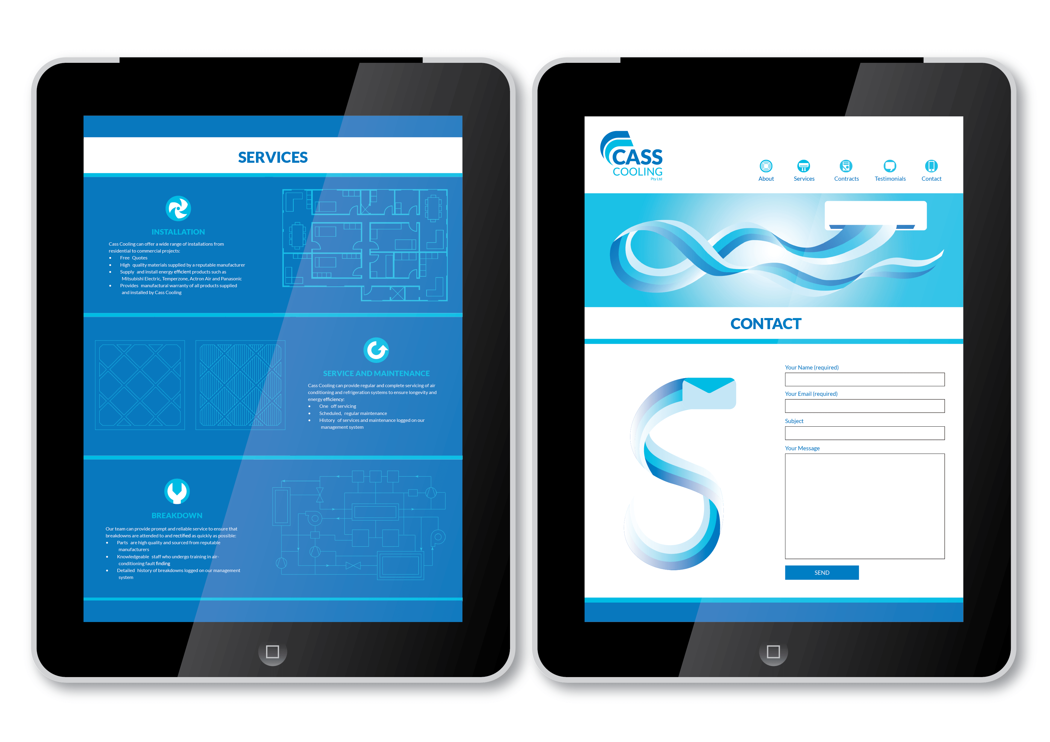 Cass Cooling website mockup services and contact pages
