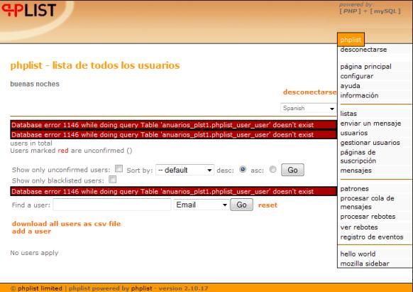 Error PHPList