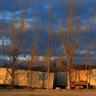 Mobil-homes à Serignan Plages au coucher du soleil