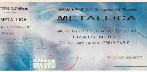 Ticket de concert Metallica