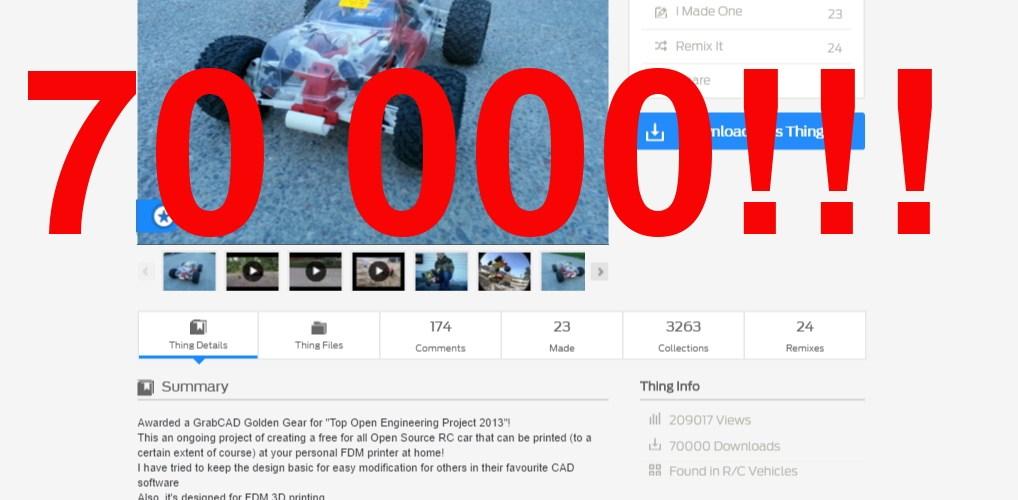 70000 Truggy Downloads On Thingiverse!!! - Daniel Norée