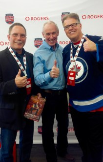 Daniel Perron (author), Ron MacLean (host of Rogers Hometown Hockey), Dancing Gabe Langlois