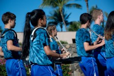 Members of the Seabury Hall Middle School Marching Band.